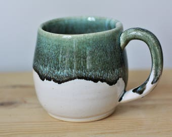 White and Blue Green Large Coffee Mug – Large Ceramic Mug – Big Coffee Mug – Handmade Coffee Cup – Large Stoneware Mug