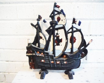 Cast metal doorstop ship nautical beach decor shabby cottage vintage pirate boat sailing