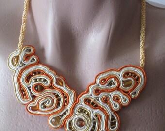 unique soutache necklace ,collana soutache,collier soutache,casual necklace,unique statement necklace