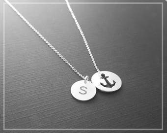 Anchor Necklace With Initial Charm, Personalized Initial Jewelry, Custom Made Nautical Necklace With Your Initials