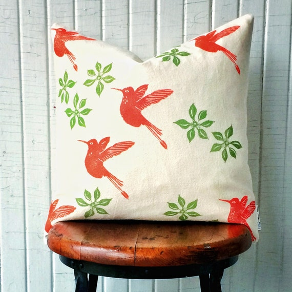 """ORGANIC canvas cushion cover, 18"""" square, green and orange, clematis, hummingbirds, one of a kind, hand printed, unique decor"""
