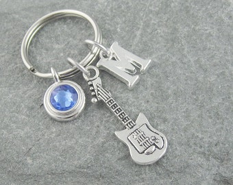 Guitar keychain, guitar keyring, initial keychain, birthstone keychain, personalized keyring, electric guitar, guitar player gift, music