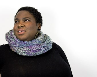 Seriously Chunky Super Soft infinity scarf - WATER LILIES -
