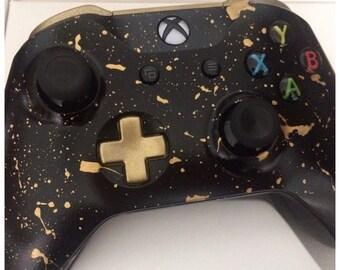 Custom Black & Gold Splatter Xbox One Controller - Brand New
