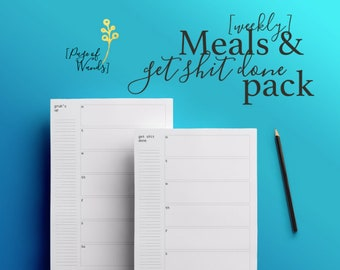 Meal & To Do List Planner Pack - Grub's Up - Get Shit Done - The Week Ahead - Weekly Printables