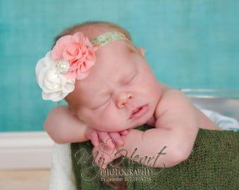 Coral & Ivory Headband/Baby Headband/Baby Girl Headband/Infant Headband/Newborn Headband/Newborn Photo Prop/Flower Headband/Spring Headband