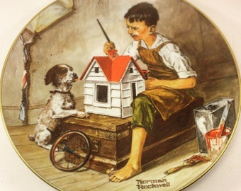 """Norman Rockwell Collector Plate 1981 Vintage Classic Collection """" A Dollhouse For Sis"""" In Box With COA"""