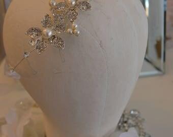 Pearl Jewelry Headband or Rhinestone Pearls Wedding Sash / Jewelry Headband / Rhinestones / Pearl Metal Band / Sparkly / Wedding Black Tie