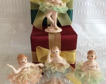 Lovely vintage dancing ballerina porcelain dolls  figurines lace tutu Japan 1960