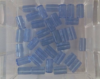 "Beads, Transparent Blue Tube Beads, Blue Glass Tube Beads, Tube Beads, Glass Tube Beads. Approx 1/2"" long. Listing is for Approx 30 Beads"