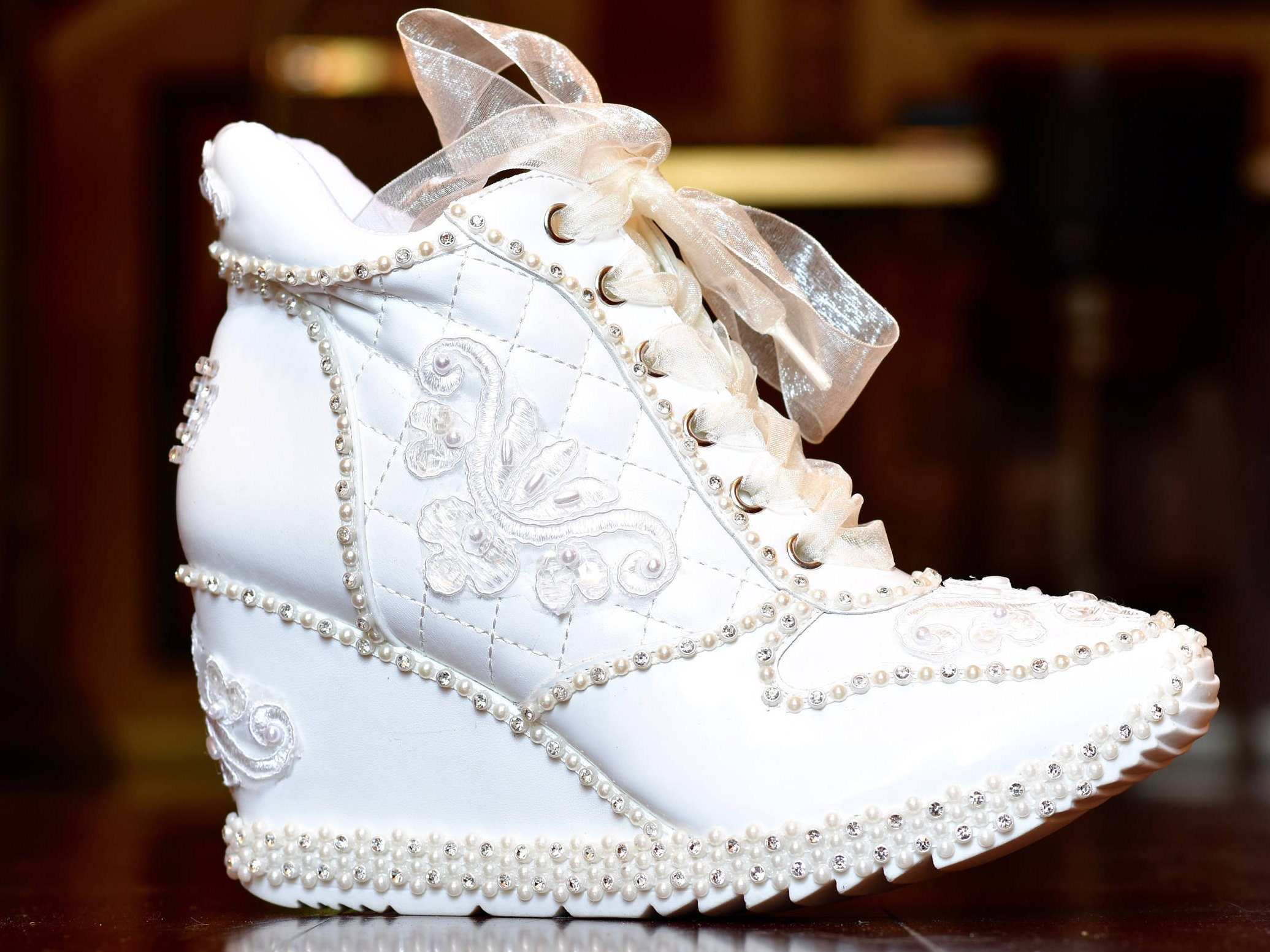 Wedding Shoes. White Or Light Ivory Sneakers Bridal Shoes