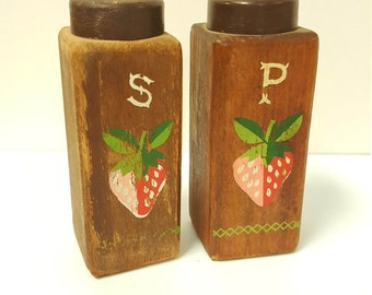 Oh So Cute Vintage 1960s Wood Salt and Pepper Shaker Set with Strawberries