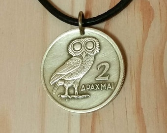 Owl Coin Necklace Pendant charm, Greece 2 Drachma Athena Owl Phoenix Coin Pendant, Animal bird coin pendant necklace