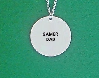 stamped necklace- gamer necklace- gamer dad- geek necklace