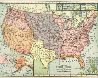 Old Map Of United States Of America Map Digital Vintage Art Image Instant Digital