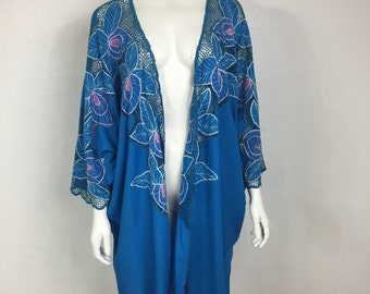 Vtg 70s 80s avant garde tropical bali mesh net floral orchid cocoon jacket duster osfm