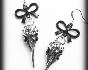 Bird Skull Earrings, Crow Skull Earrings, Gothic Earrings, Raven Skull Earrings, Antique Silver, Gothic Jewelry, Alternative Jewelry