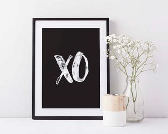 XO print, Kiss wall decor, Black and white wall art, Scandinavian style, Giclee art, Choice of colors (frame not included)