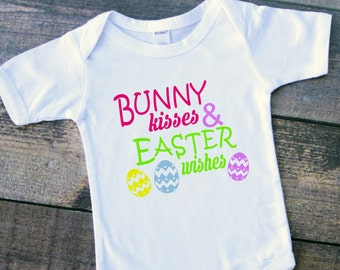Bunny kisses and Easter wishes baby girl toddler bodysuit tshirt