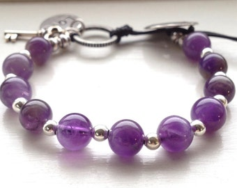 Amethyst Beaded Bracelet for Women-February Birthstone Jewelry-Women's Leather&Bead Bracelet- Healing Bracelet for Anxiety-Gemstone Bracelet