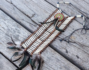 Native American breastplate / Indian necklace / Bone jewelry / Bone indian necklace /  Boho accessories / Women accessories