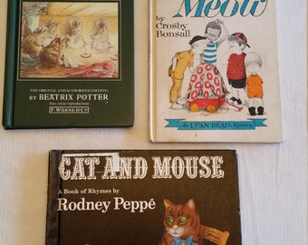 3 vintage hc childrens story books - tales from beatrix potter - cats meow by bonsall - cat and mouse by peppe - kids bedtime kittens kitty