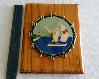 "vintage 7"" x 9"" handmade wooden nautical sailboat clock - boat ocean lake regatta beach home wood decor - rustic retro art wall hanging"