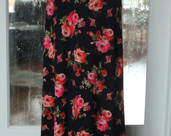 Navy Blue with Pink Floral Maxi Skirt
