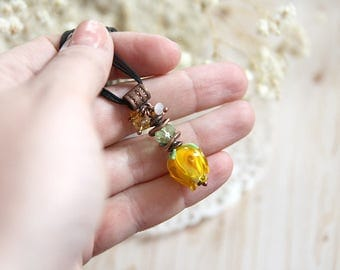 Anniversary gift for girlfriend gift for new mom necklace Flower jewelry necklace ladies gift nature lover gift gardener gift Yellow pendant