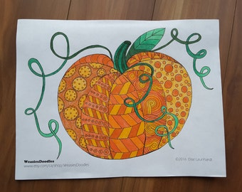 PDF Printable Colouring Page: Pumpkin Doodle