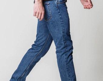 Mens Jeans, Jeans, Vintage Jeans, 80s 90s Jeans, Classic Jeans, Slim Jeans, Blue Jeans, Dark Blue Jeans, Slim Pants, Mens Trousers