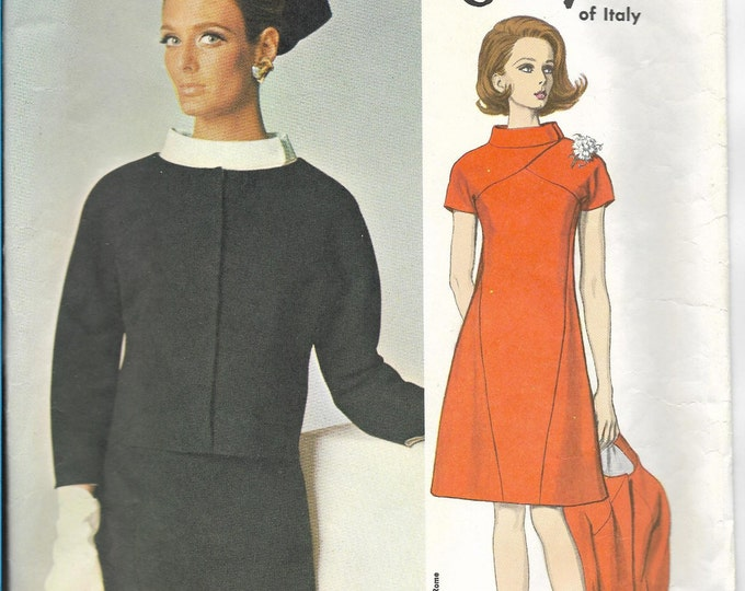 60s Vogue Couturier Design 1648 GALITZINE of Italy Women Dress and Jacket Vintage Sewing Pattern Miss Size 12 Bust 32 Hip 34