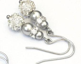 Bridal Earrings, Drop Pearl Earrings, Gresy earl Earrings, Wedding Earrings, gift bridesmaid, Swarovski pearl, rhinestone, Bridal Jewelry