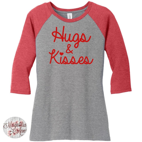 Hugs And Kisses, Heart, Valentines Day, Womens Baseball Raglan 2 Tone 3/4 Sleeve Tops in Sizes Small-4X, Plus Size