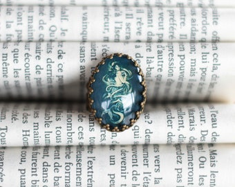 CLEARANCE ring bronze cabochon Mermaid