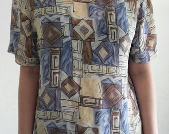 Vintage Geometric Art Top