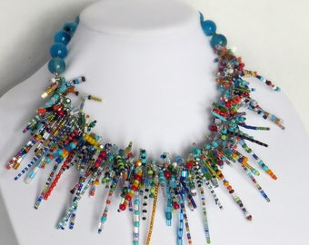 Bright Fun Colorful Spiky Handcrafted Artisan Statement Necklace