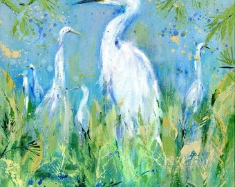 Emerging Egrets: Fine art giclee egret print from original egret painting