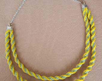 Green and Yelllow Acrylic Yarn spiral Kumihomo 2 Strand Necklace