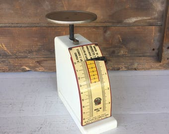 Vintage Kitchen Scale, Hanson Scale, 8 lbs Scale, White, Cottage Chic, Farmhouse Style, Rustic Decor, Home Decor