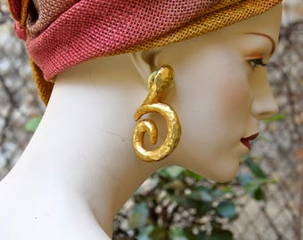 "ALEXIS LAHELLEC 1980 Golden Resin "" Yaron "" Earrings"