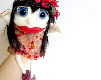 Marionette Muppet puppet Brunette Collectible dolls Ooak doll Doll puppet Puppet for children Muppet toy Custom puppet Ventriloquist