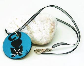 Blue round necklace with black cat - Necklace with black cat - Necklace with ribbon and cat necklace