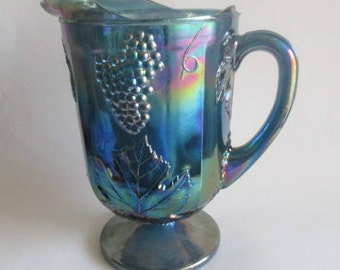 "Vintage Indiana Glass Iridescent Blue Harvest Carnival Glass Pitcher 10"" c1970"