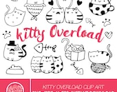 Hand Drawn Cute Cats Clipart Illustration, Printable Coloring Sticker, Digital Download Illustrated Clip Art, Cats Hearts, Nerdy Cat, Love