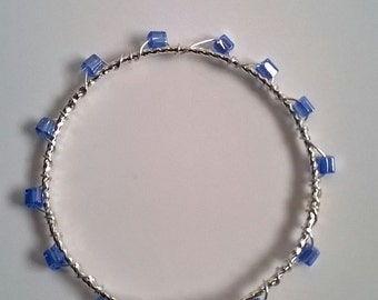 Blue Square Glass Bead Silver Wire Wrapped Bangle Bracelet, Blue Glass, Pretty Bangle, Cruise, Beach Jewelry, Summer Jewelry, Stackable