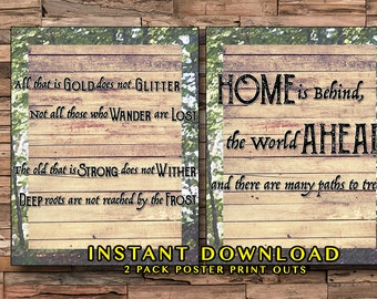 JRR Tolkien 2 Pack, Instant Download, The Hobbit, Lord of the Rings, Tolkien, Adventure Prints, Home Decor Prints, Wander Prints, LOTR, Book