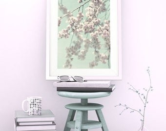 Photo ARTPRINT 'HAPPY SPRING' Full blooming cherrybranches with vintage pink blooms/flowers on mint sky in spring