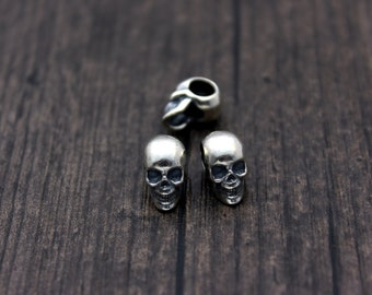 Sterling Silver Skull Beads,Silver Skull head,Silver Skull spacer bead,3D skull, 5mm large hole skull bead