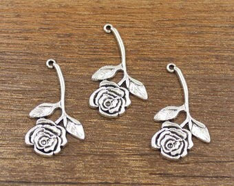15pcs Rose Charm Antique Silver Tone 20x34mm - SH553
